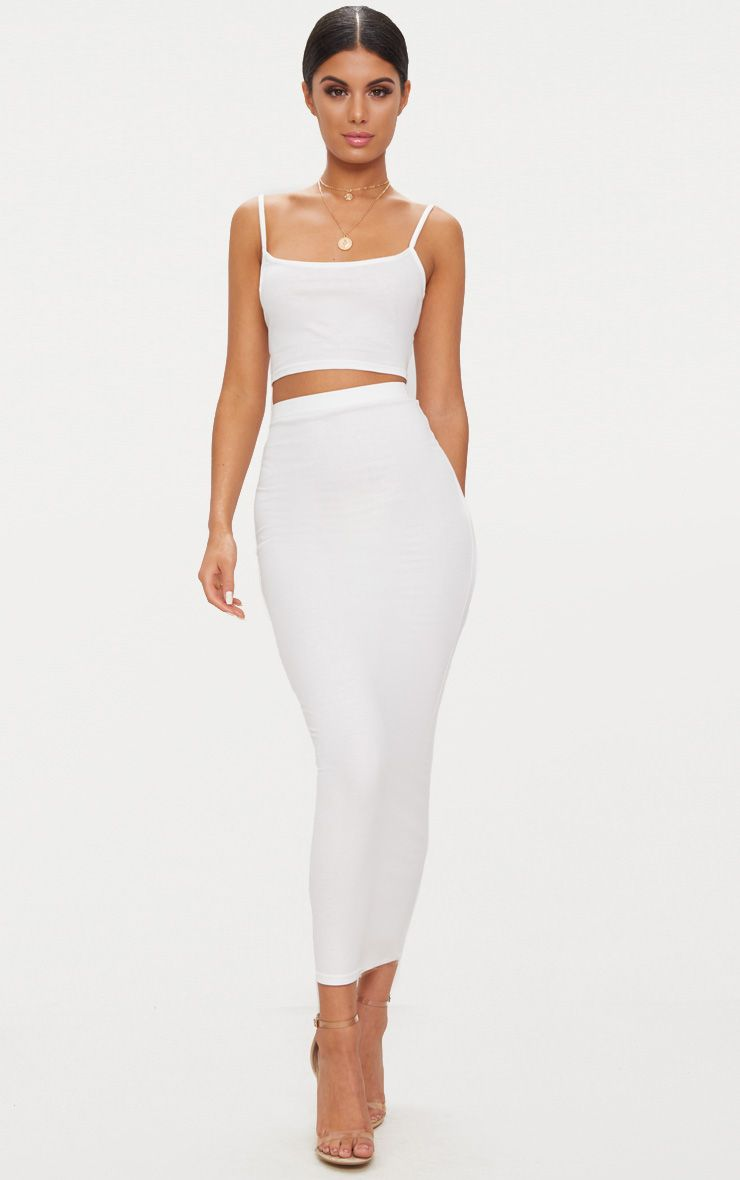 White Jersey Midaxi Skirt