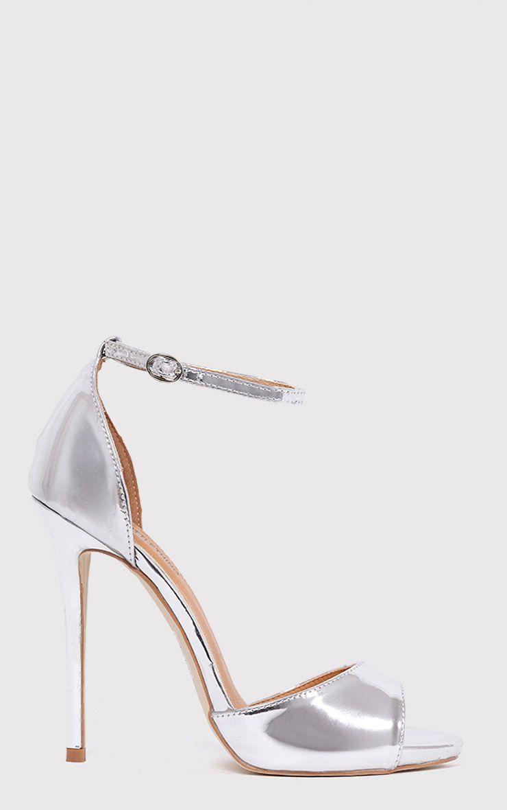 Vanyah Silver PU Ankle Strap Stiletto Heels