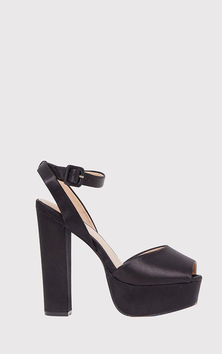 Dianne Black Satin Platform Heels