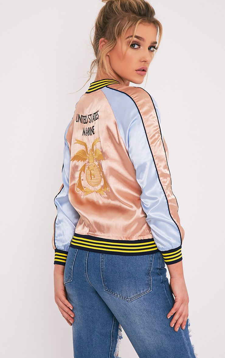 Sera Champagne Satin Applique Detail Bomber Jacket