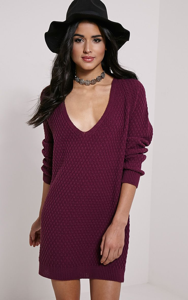 Hatty Plum V Neck Jumper Dress 1