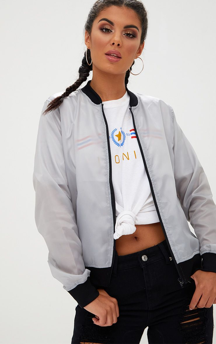 Ainnie Grey Lightweight Bomber Jacket