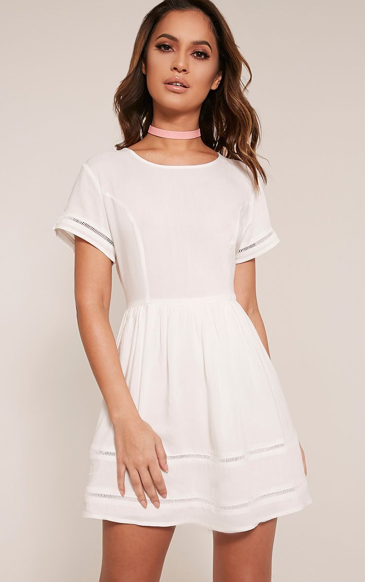 Britnay White  Ladder Trim Shift Dress 1
