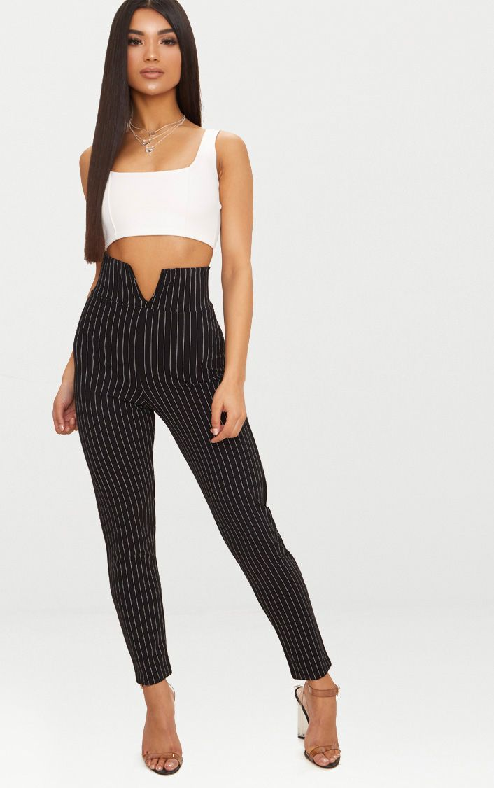 Black Pinstripe Cut Out Waist Skinny Trousers
