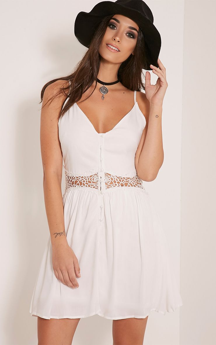 Oana White Button Down Crochet Insert Skater Dress