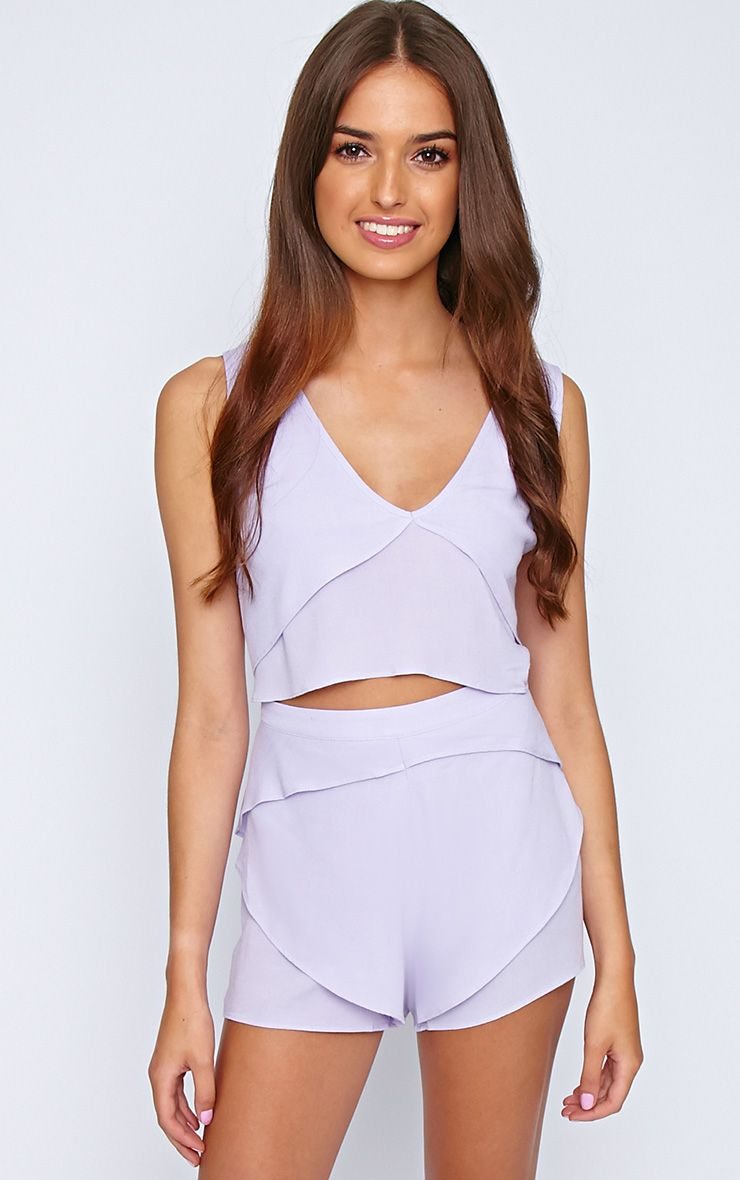 Shelley Lilac Chiffon Shorts  1