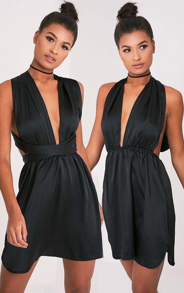 Tara Black Silky Multiway Mini Dress 1