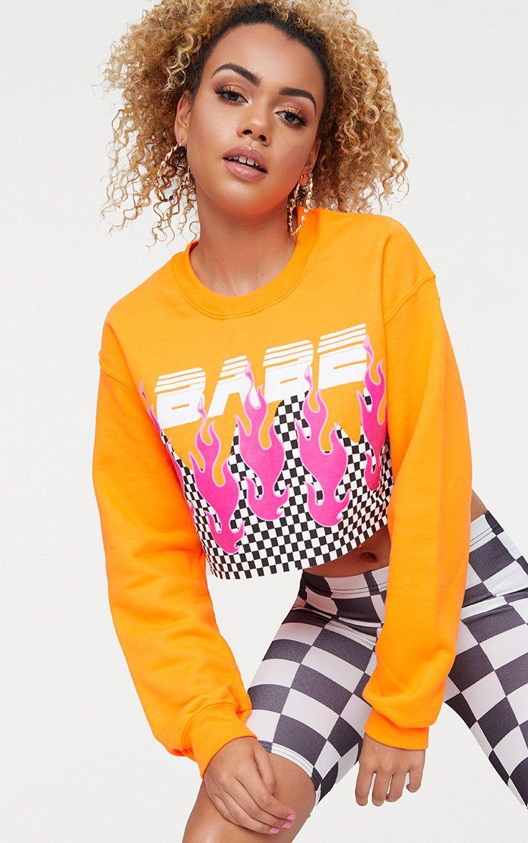 Babe Slogan Orange Motocross Cropped Sweater