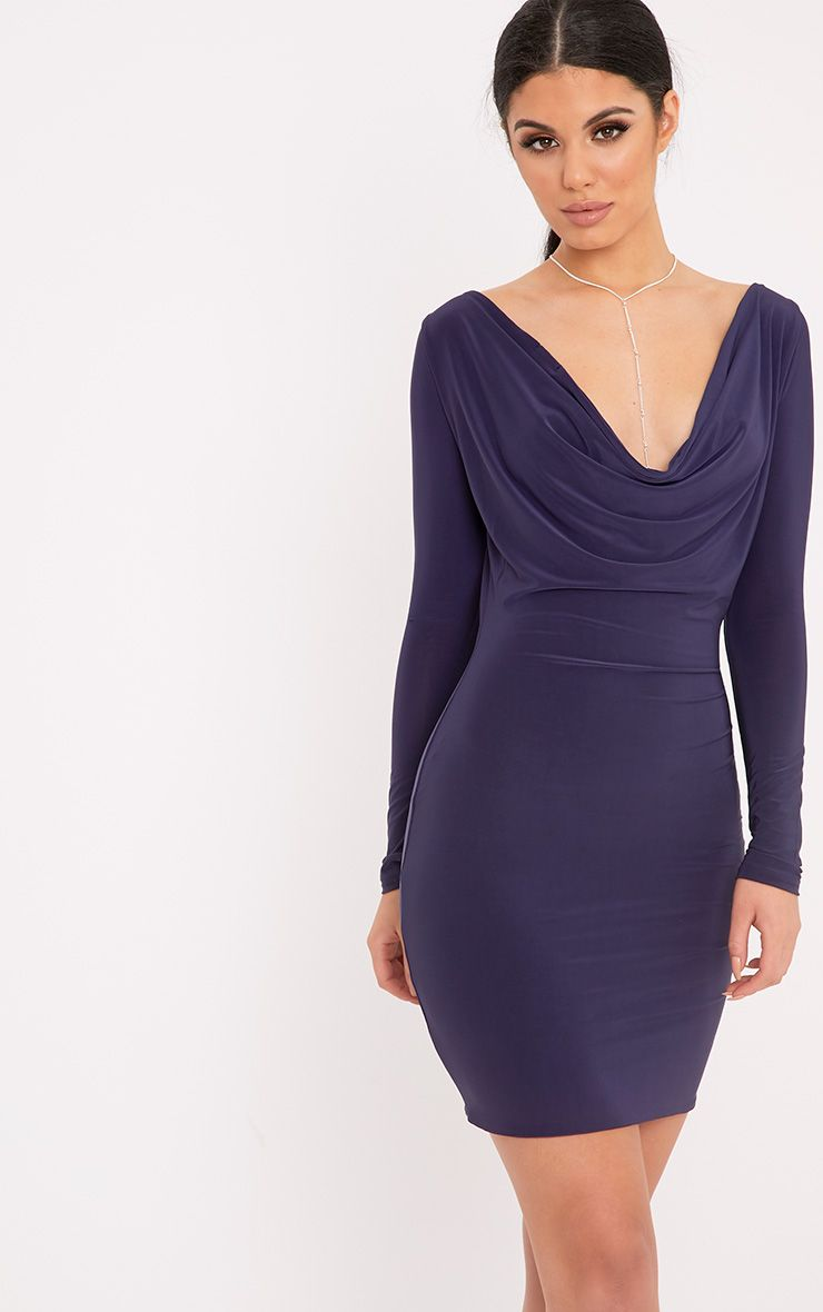 Celestia Navy Cowl Neck Bodycon Dress