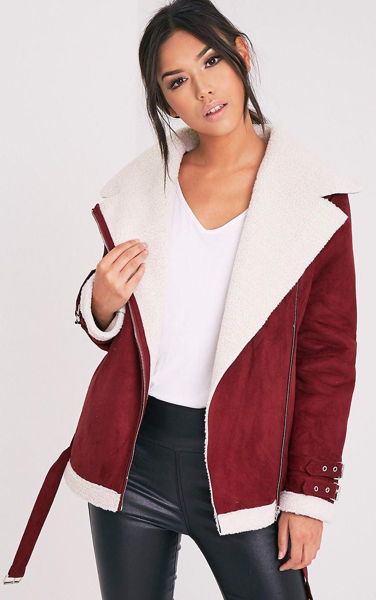 Emilia Burgundy Faux Suede Aviator Jacket 1