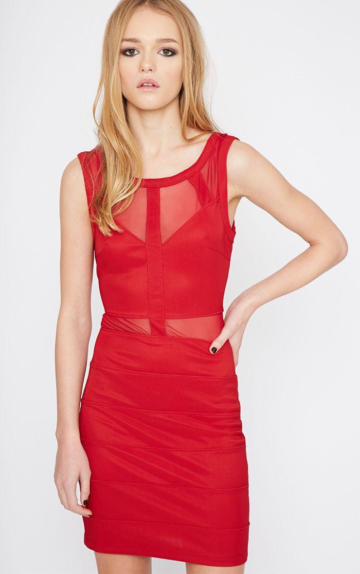 Karin Burgundy Mesh Detail Bandage Dress 1