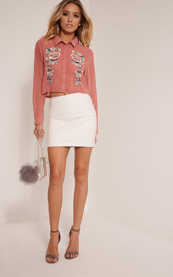Esther Blush Embroidered Cropped Chiffon Shirt