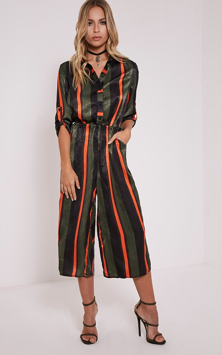 Katriana Orange Stripe Culotte Jumpsuit 1