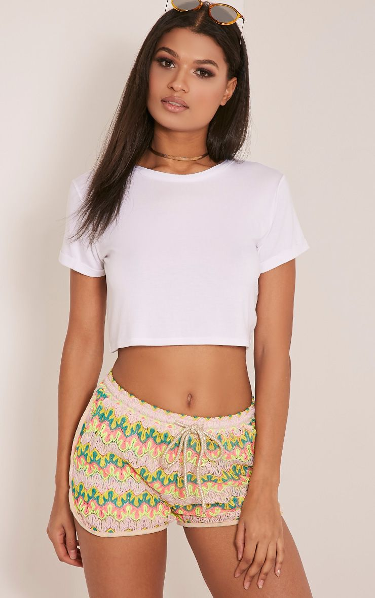 Jillian Neon Yellow Crochet Shorts