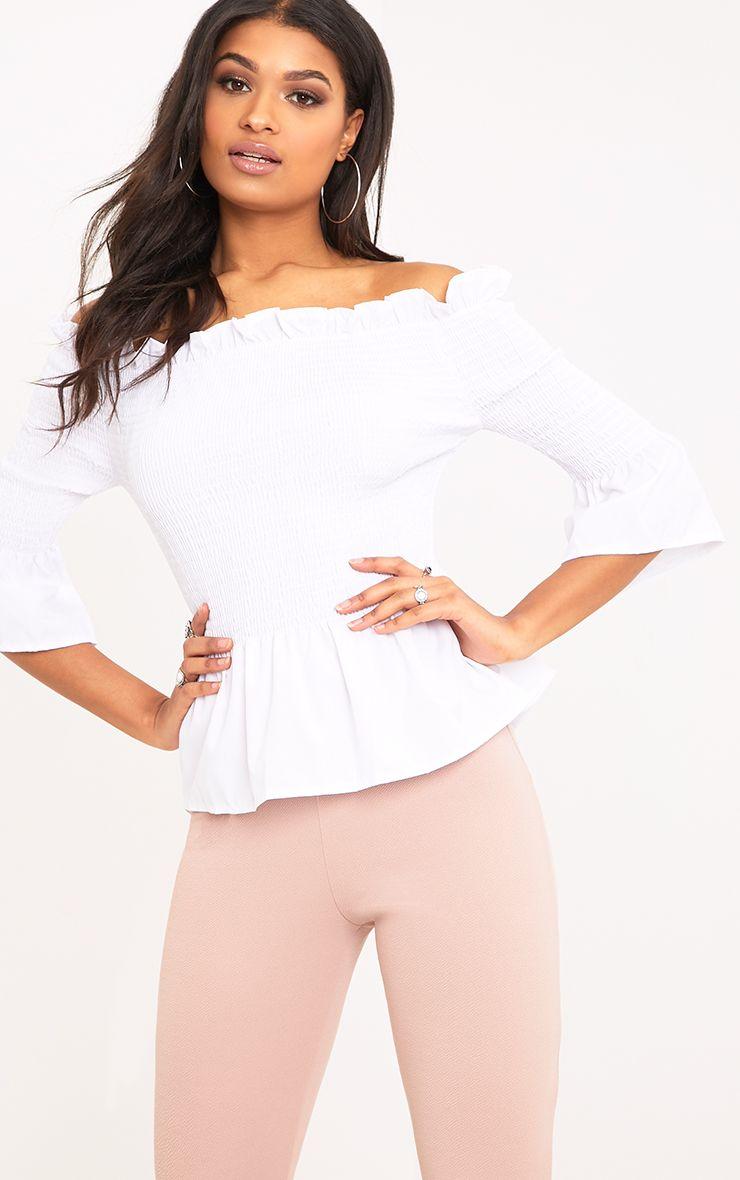 Pami White Ruched Bardot Cotton Shirt