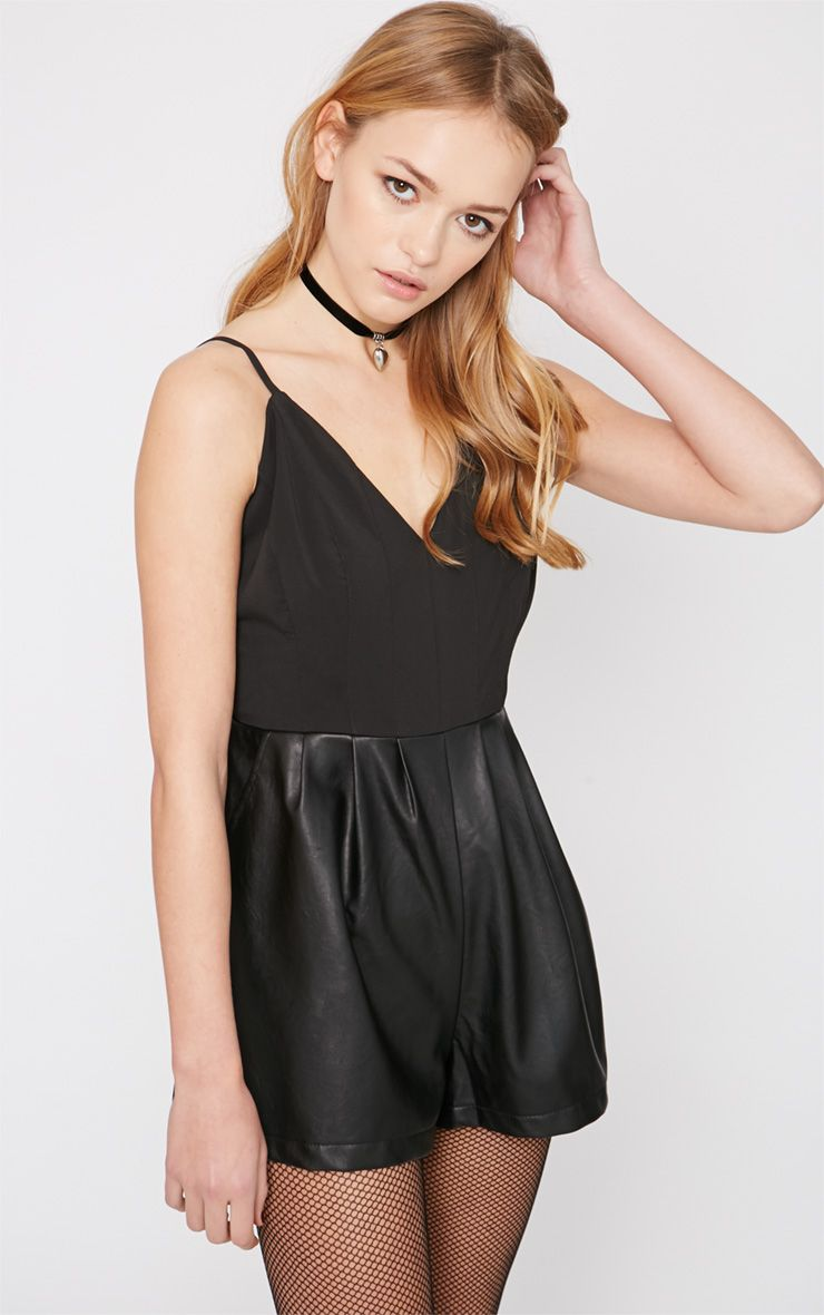Minna Black Leather Short Playsuit  1