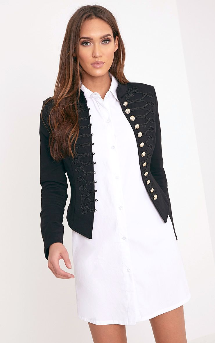 Zoeey Black Slim Fit Cropped Military Jacket 1