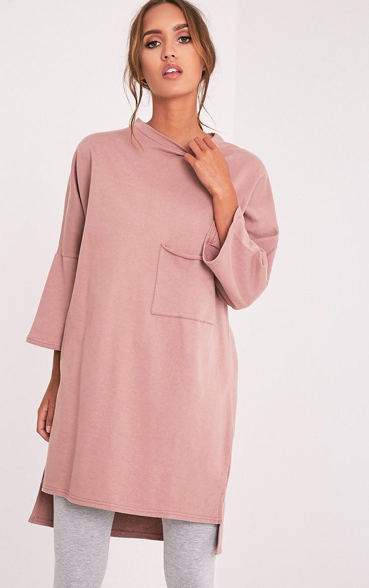 Ceara Dark Mauve Split Side Sweater Dress 1