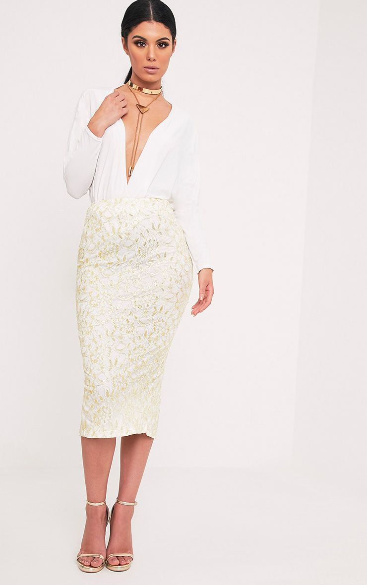 Brigitte Cream Metallic Lace Midaxi Skirt