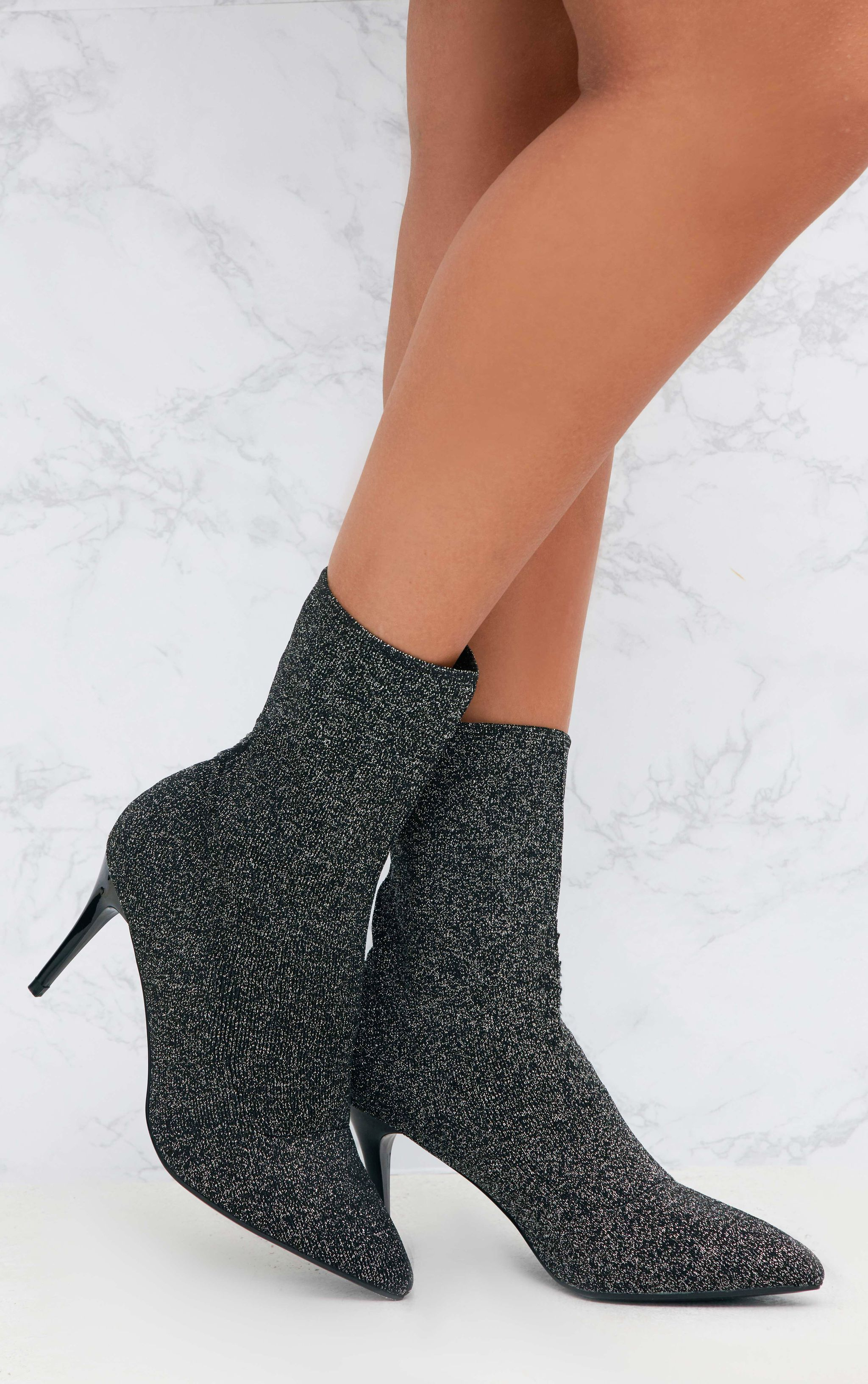 Silver Mid Heel Ankle Sock Boot