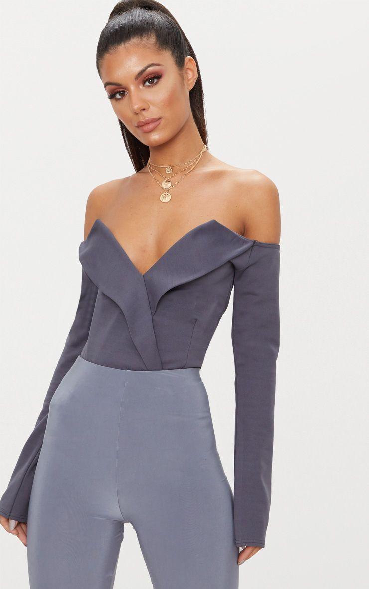 Charcoal Tux Blazer Detail Bardot Bodysuit