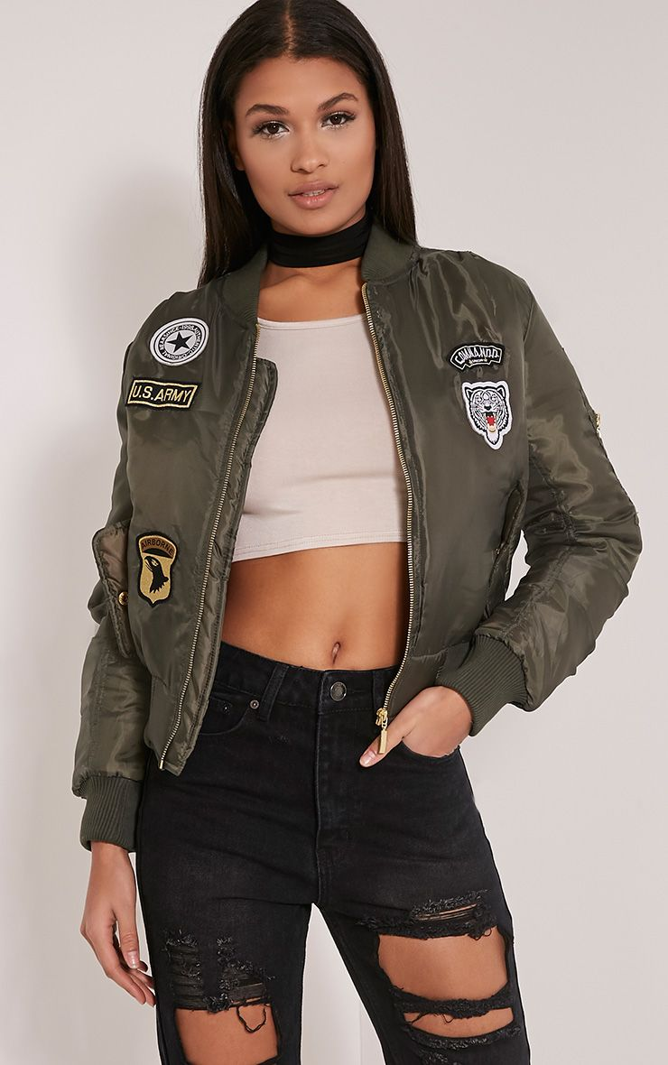 Joya Khaki Utility Badge Bomber Jacket