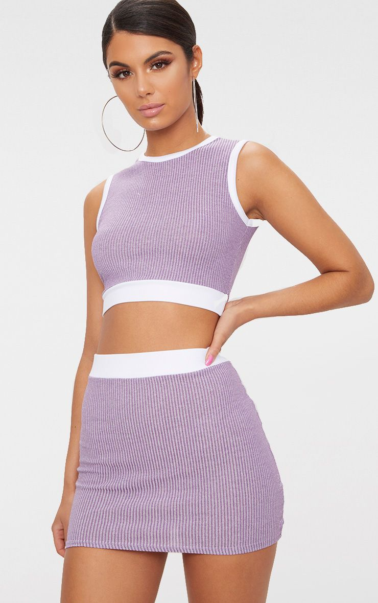 Lilac Contrast Rib Mini Skirt