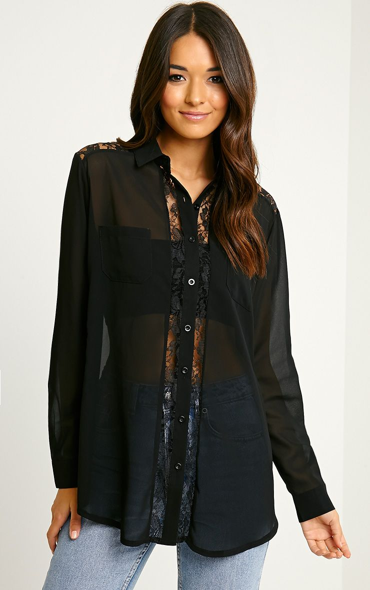 Ruri Black Lace Detail Shirt 1
