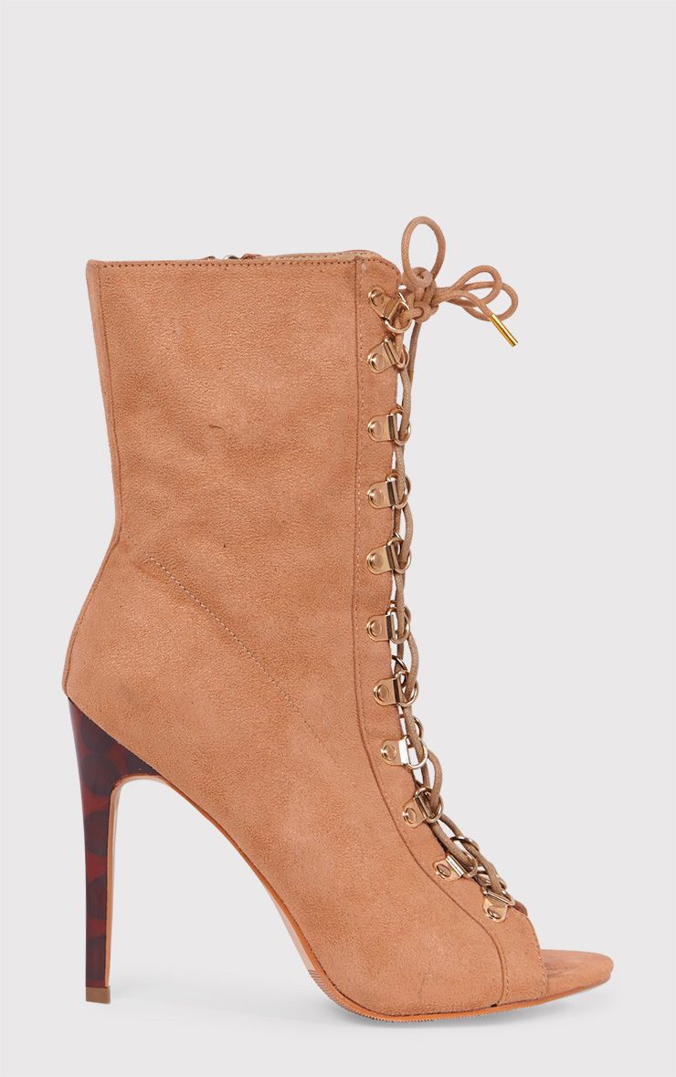 Elina Camel Lace Up Open Toe Ankle Boots