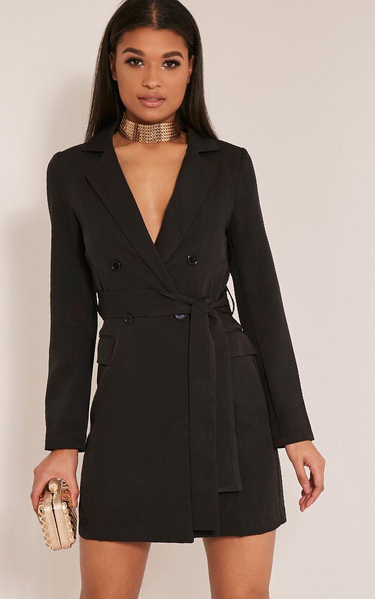 Monicah Black Belted Blazer Dress 1