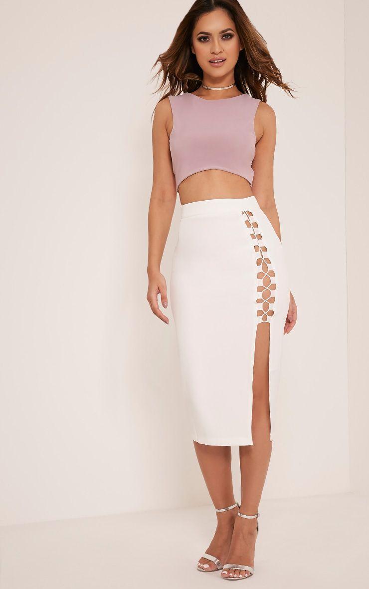 Janelle White Lace Up Midi Skirt 1