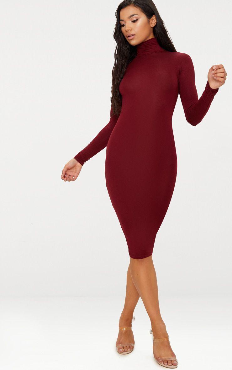 Basic Burgundy Roll Neck Midi Dress 1