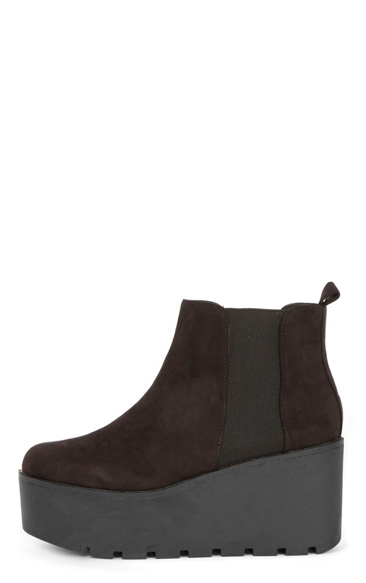 Kasey Black Suedette Wedged Boot  1