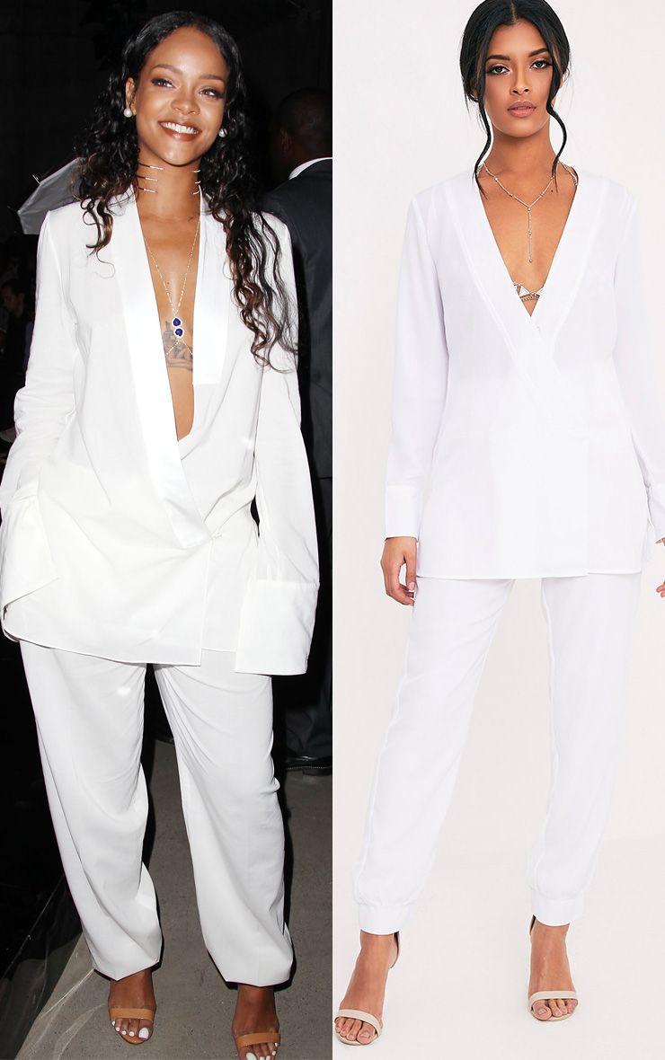 Adelene White Oversized Blazer Top