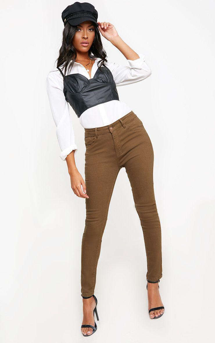 Khaki 5 Pocket Skinny Jean