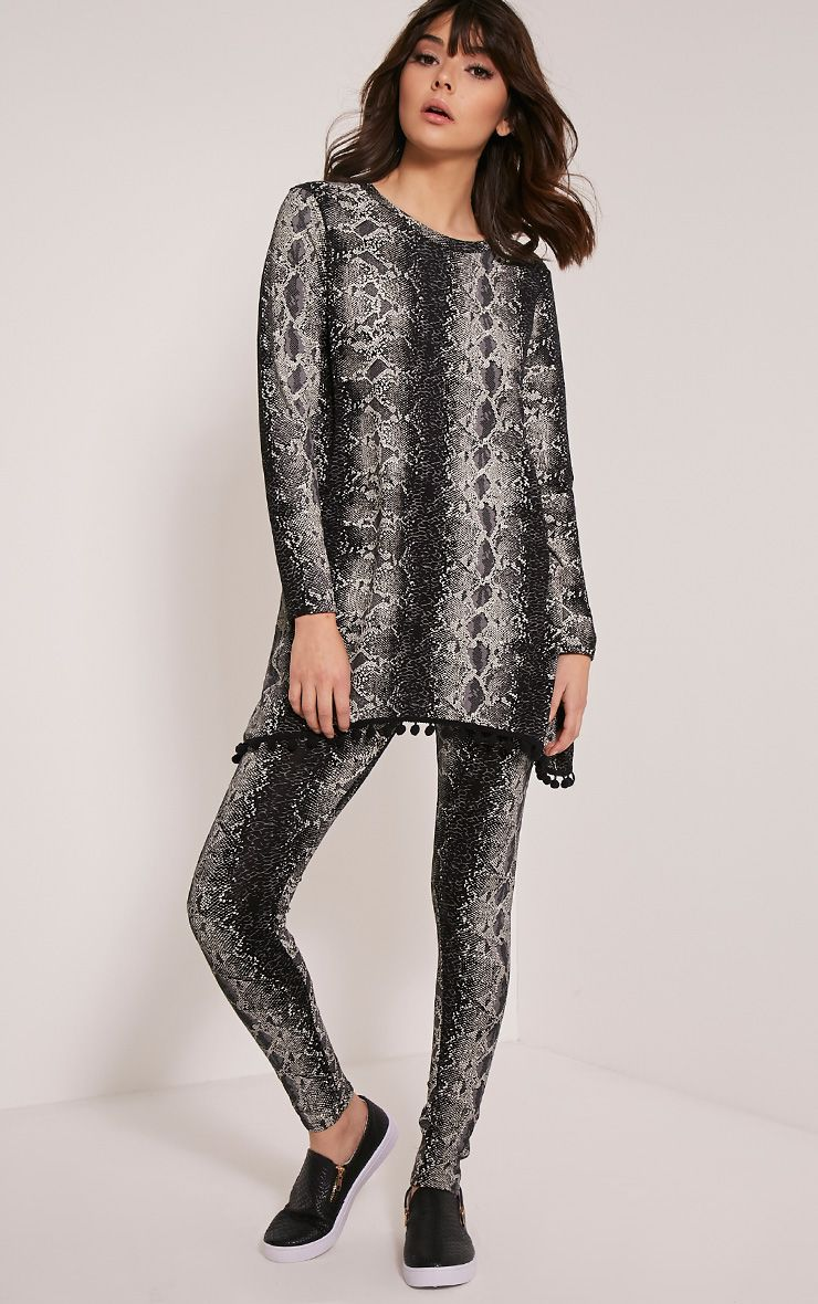 Lilly Black Snake Print Loungesuit Bottoms 1