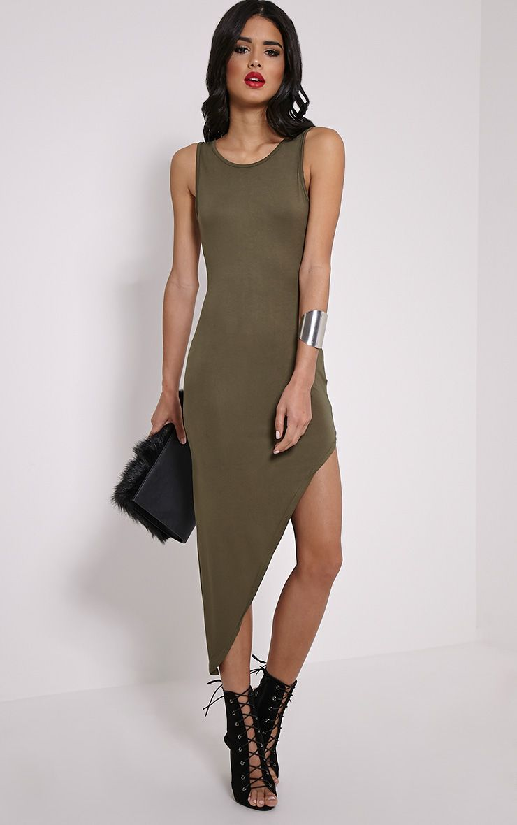 Rayne Khaki Asymmetric Jersey Scoop Back Dress 1