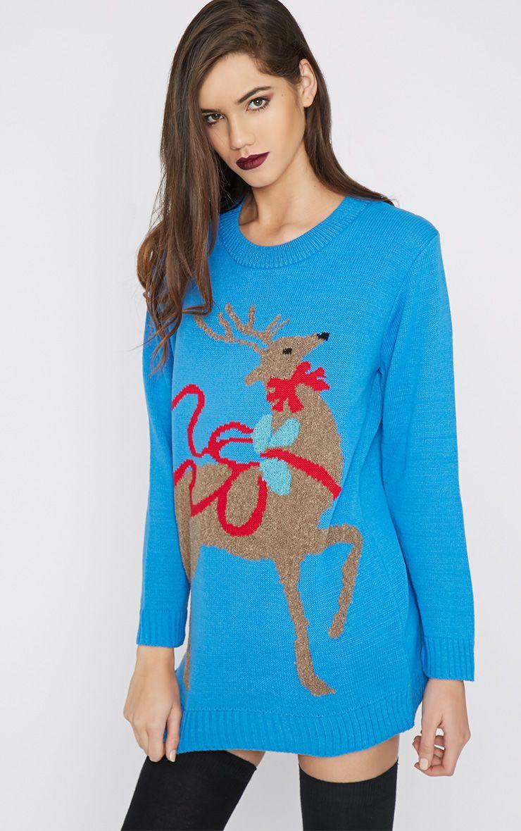 Noel Blue Reindeer Print Jumper-M/L 1