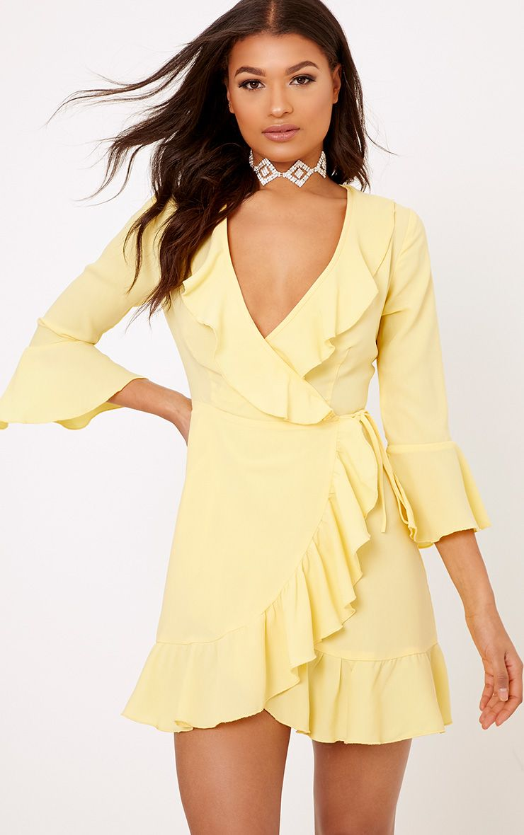 Ilisha Lemon Frill Wrap Dress