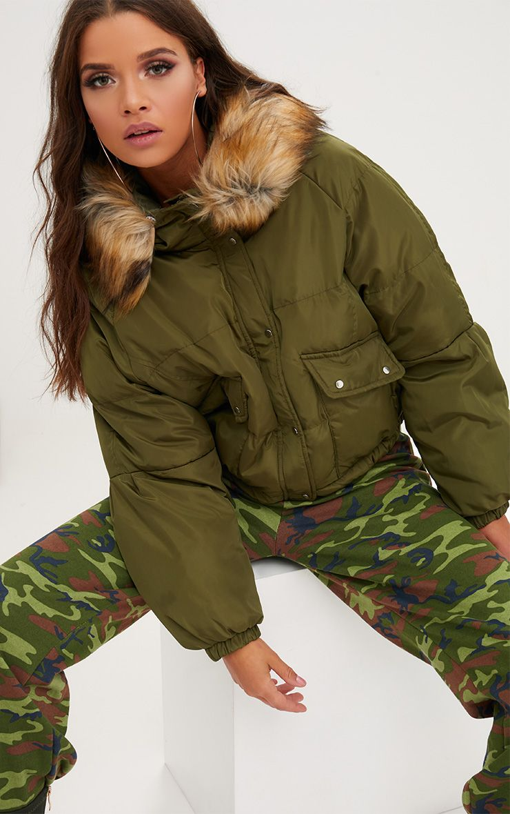 Khaki Cropped Puffer Jacket with Faux Fur Hood