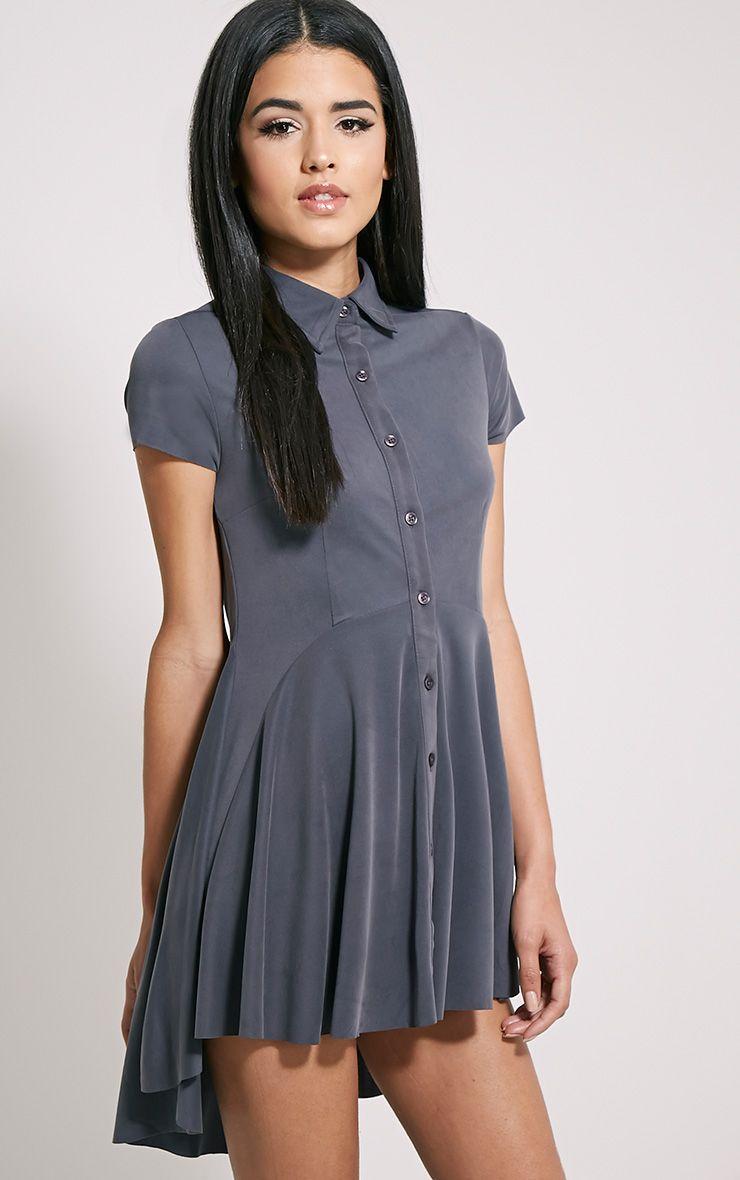 Shaya Navy Brushed Crepe Shirt Dress 1
