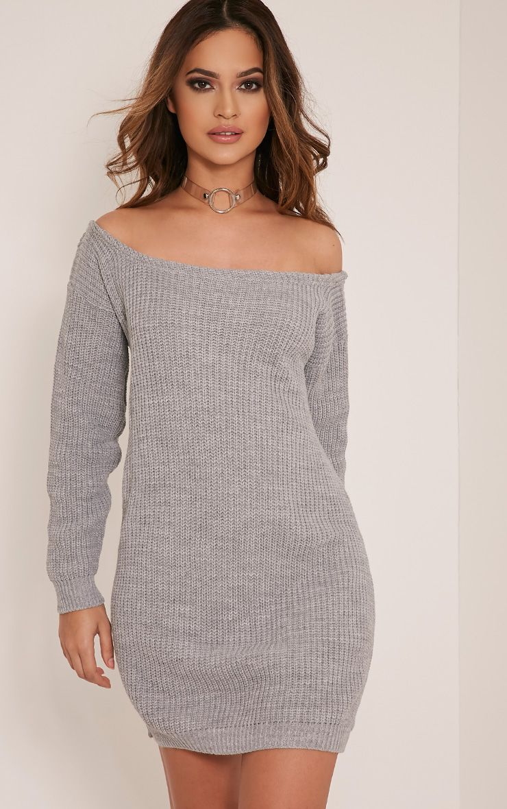 Larissa Grey Off The Shoulder Knitted Dress