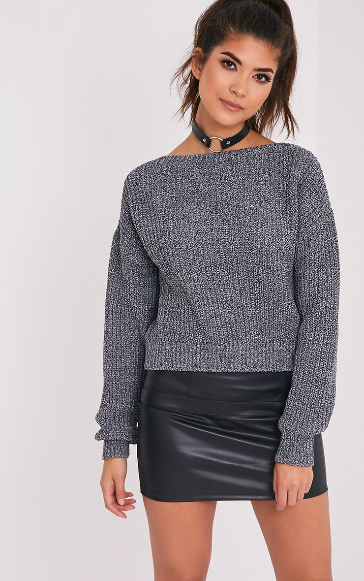 Christiana Black Mixed Knit Slash Neck Crop Jumper