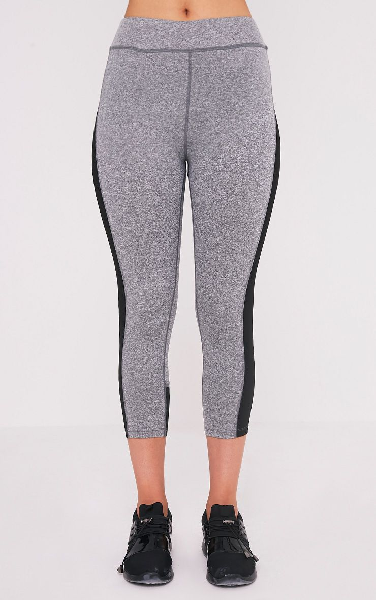 Fion Black Panelled Cropped Gym Leggings 2