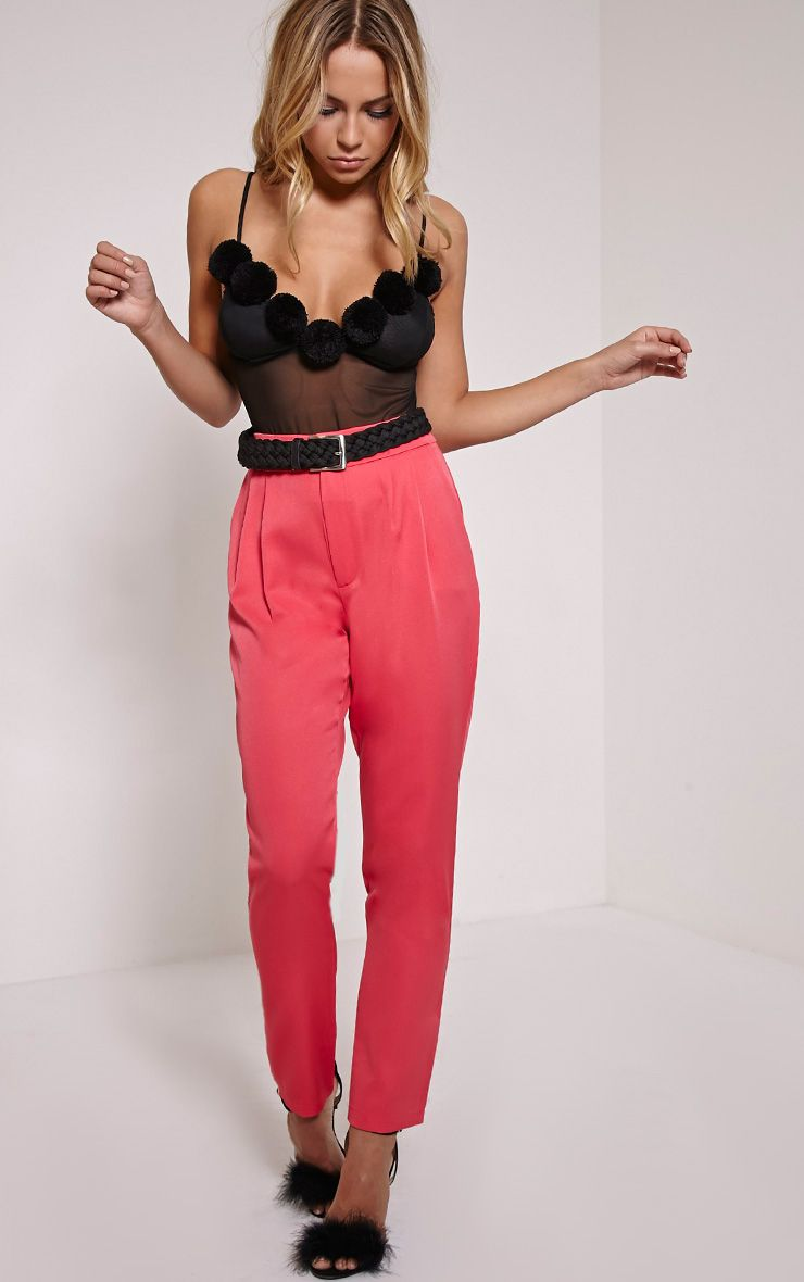 Floss Pink High Waisted Tapered Trousers 1