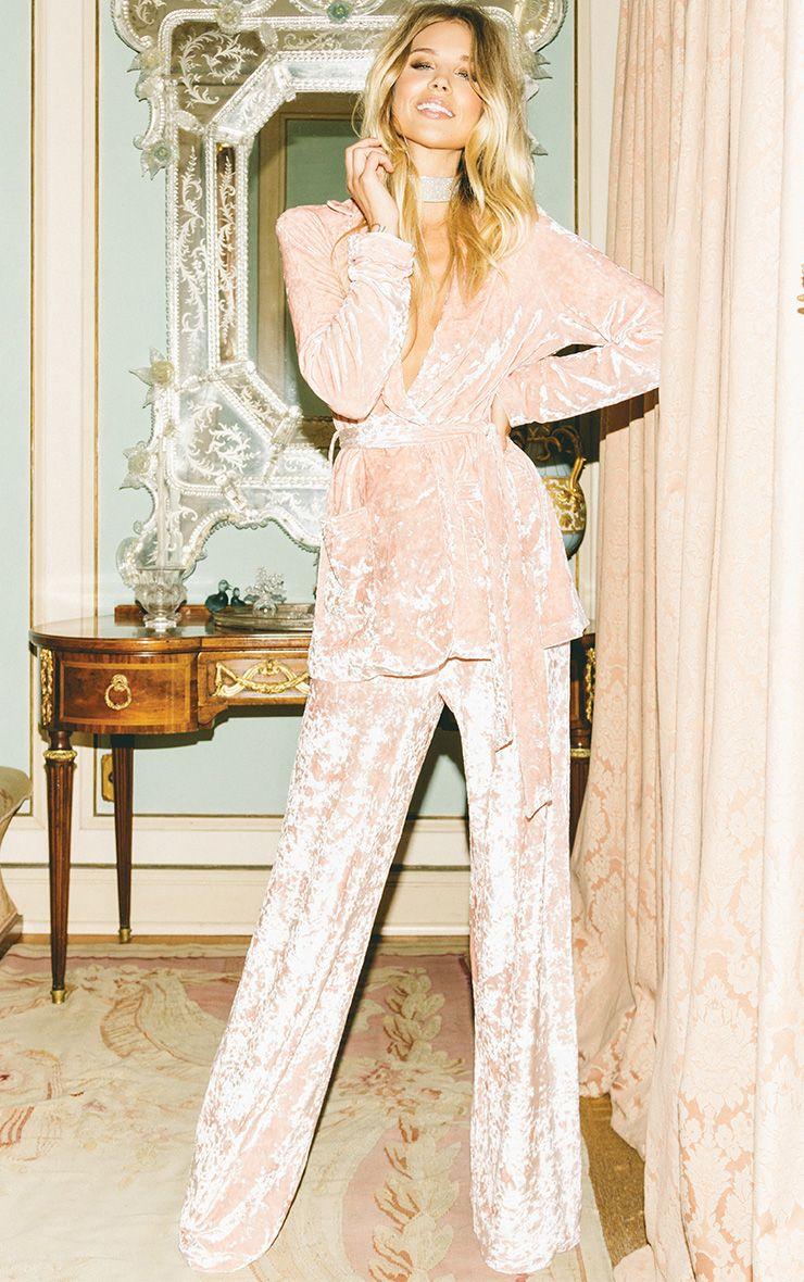 Marisha pantalon coupe ample en velours écrasé blush 2