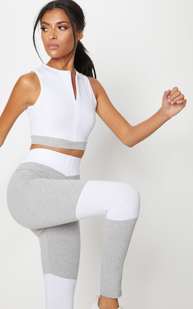 White Cotton Zip through Sports Crop Top