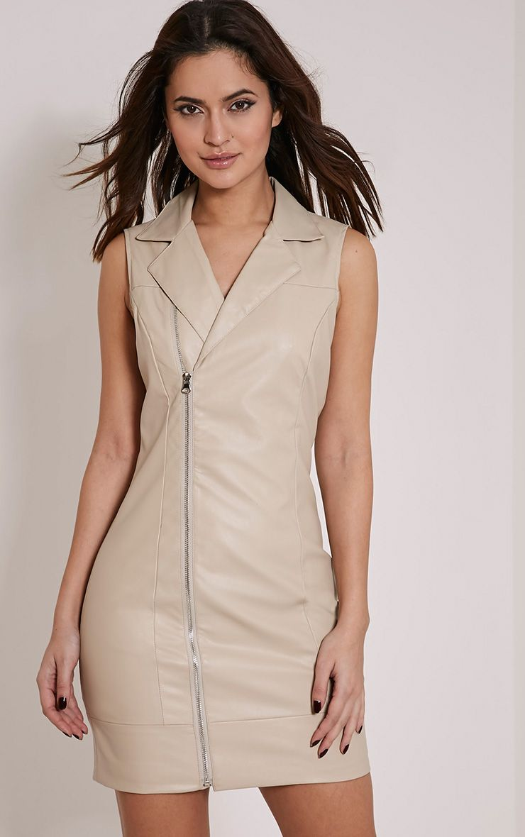 Chantal Nude Faux Leather Blazer Dress 1