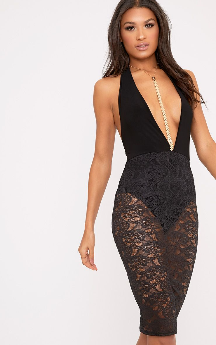 Jerinah Black Halterneck Lace Overlay Midi Dress