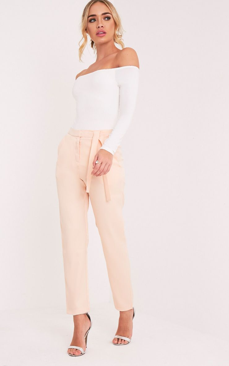 Avah Nude Tie Waist Cigarette Trousers 1